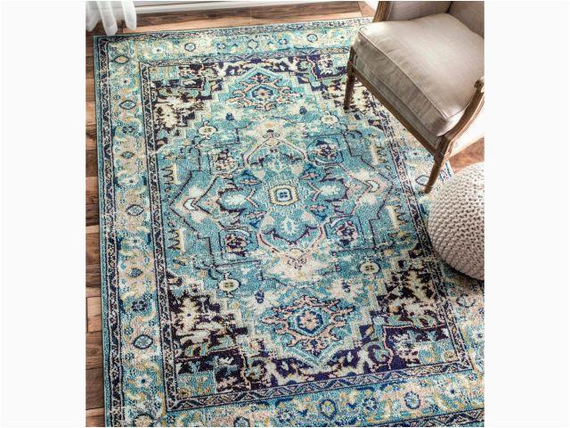 10x14 area rugs ikea nuloom traditional flower medallion aqua rug 7 10 x 11