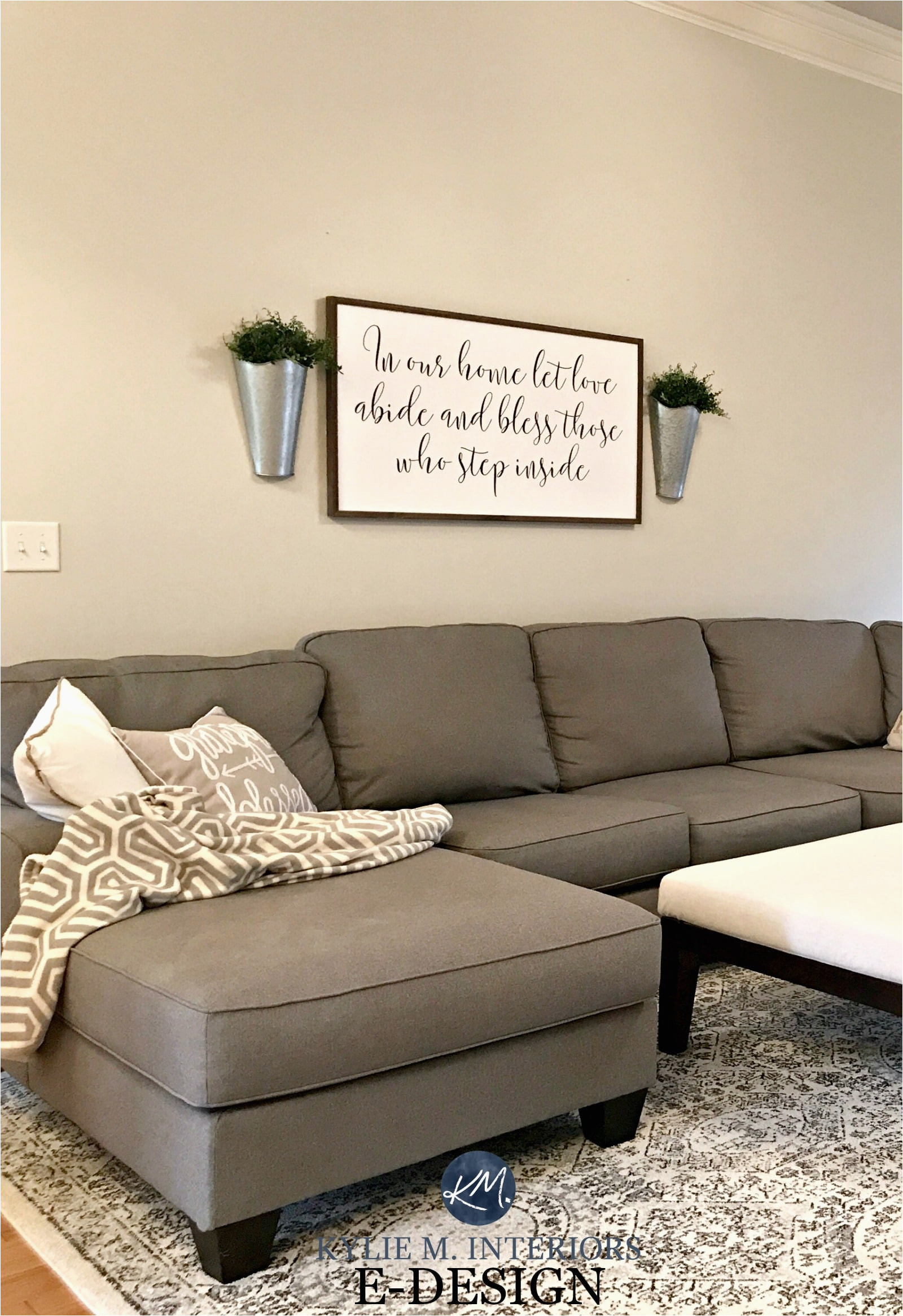 sherwin williams agreeable gray in living room gray sectional couch area rug kylie m e design and online color consulting