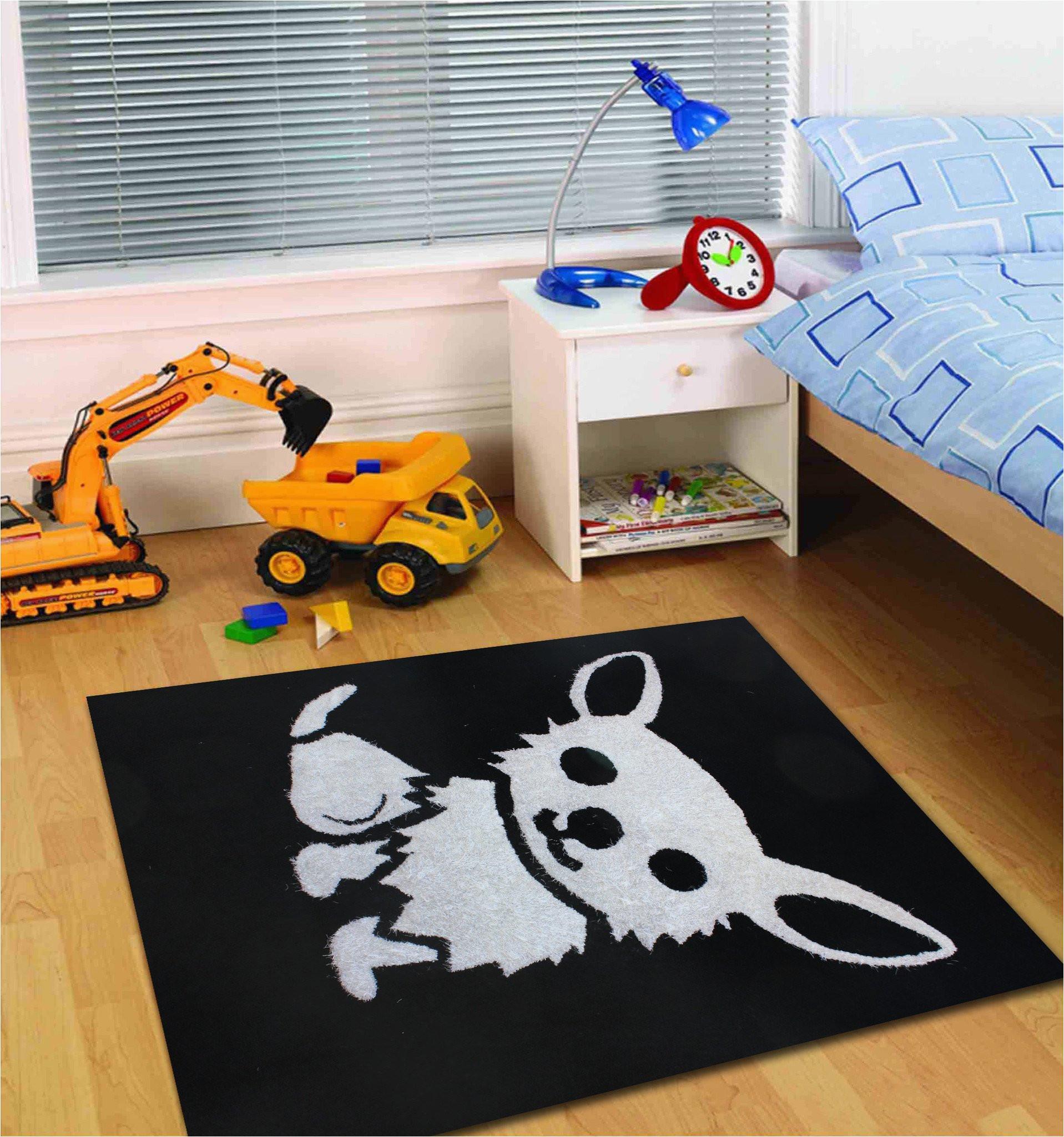 4 x 54 ft all black kids bedroom area rug with white dog design