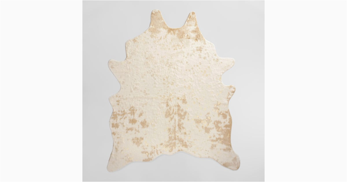 gold printed faux cowhide 5x7 area rug 150