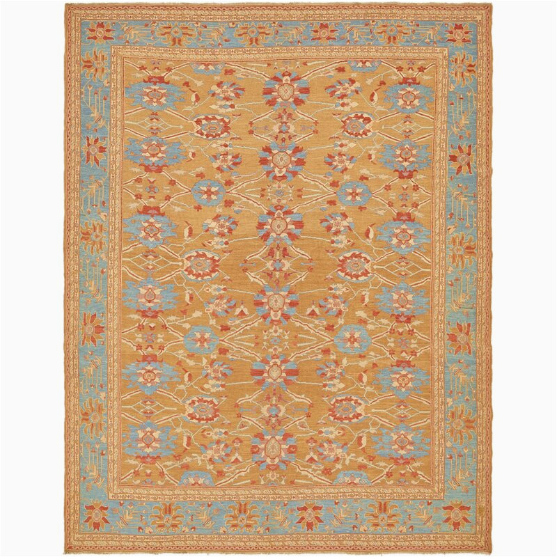 isabelline one of a kind earley hand knotted 10 x 129 wool tanblue area rug vlhx3569