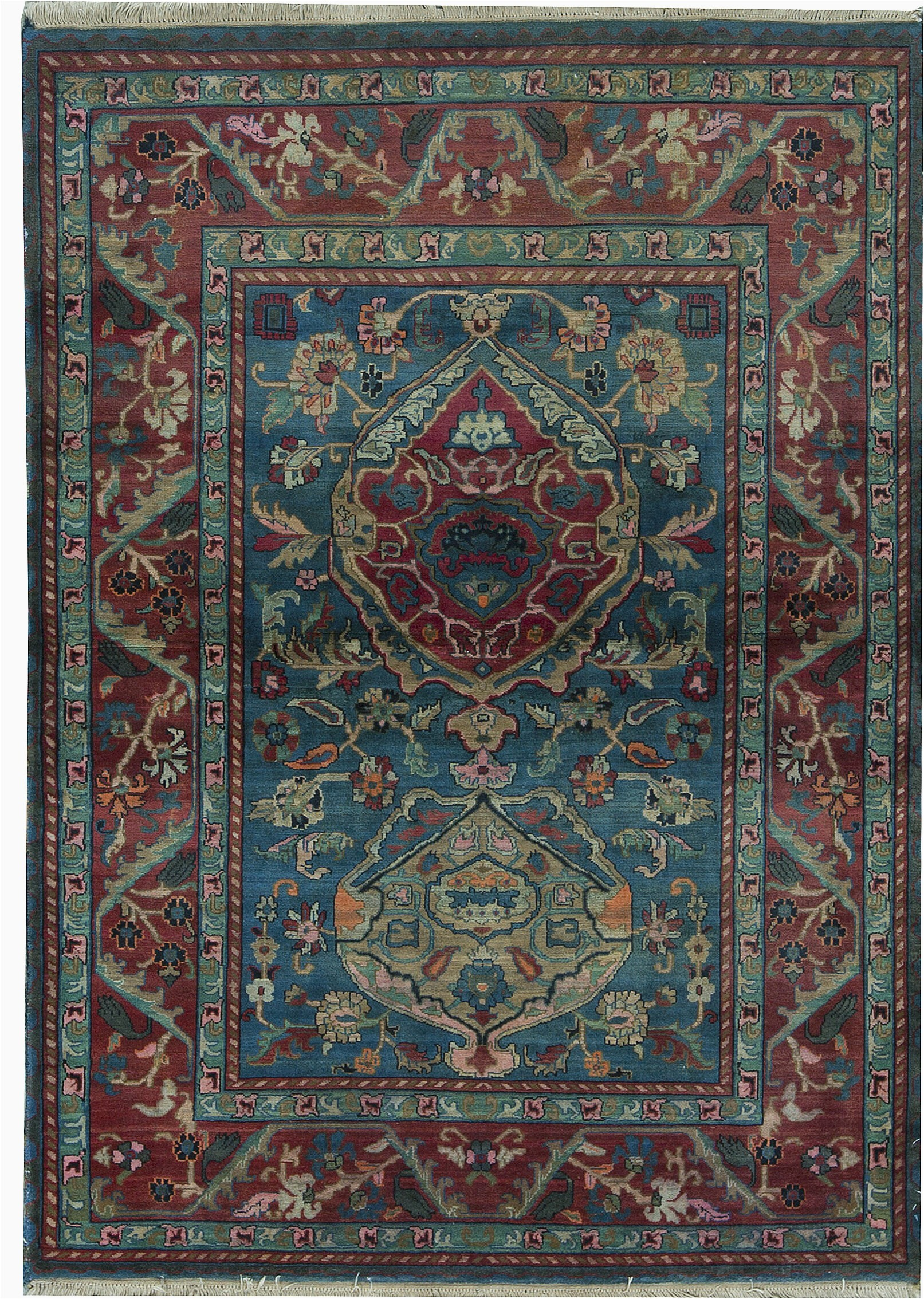 """48 X 66 area Rug E Of A Kind Hand Knotted Red 4 8"""" X 6 6"""" Wool area Rug"""