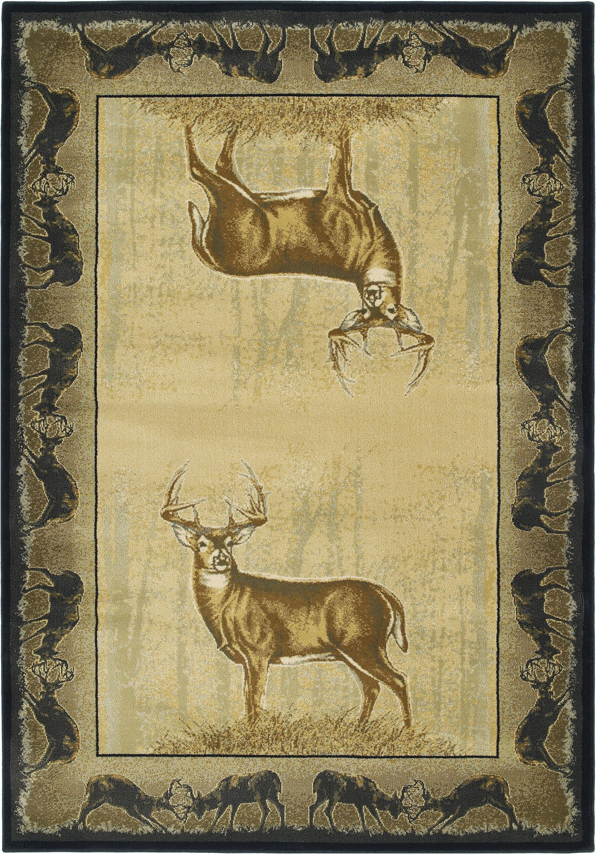 Area Rugs with Deer On them Modern Loom Believe Deer 7410 534 Natural Polyester