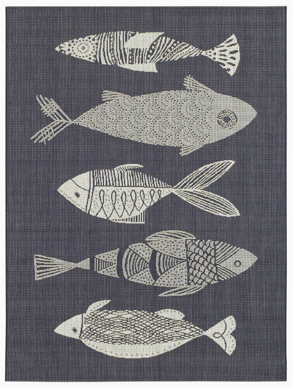 Area Rugs with Fish On them Hiram Fish Gather Navy Indoor Outdoor area Rug In 2020