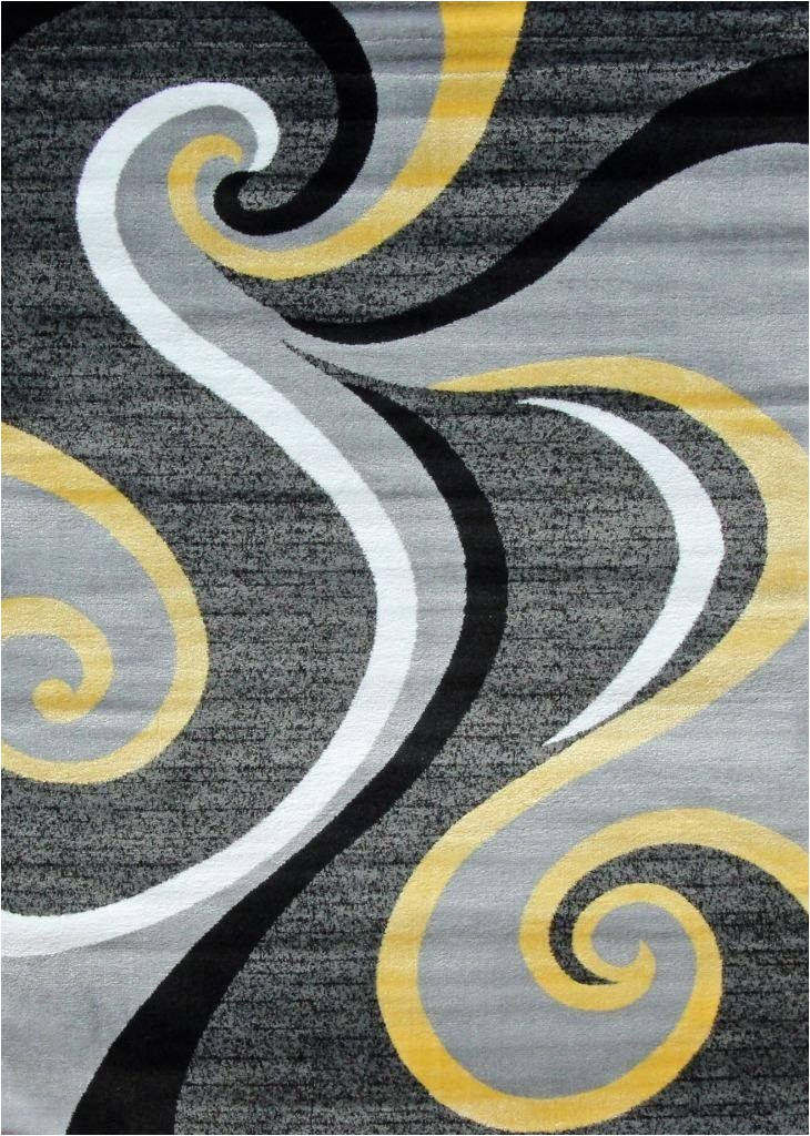 Black Grey and Yellow area Rug Gray and Black and Yellow