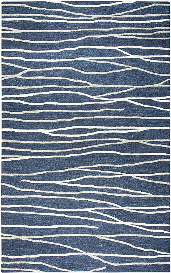 Blue and Gray Wool Rug Rizzy Home Idyllic Collection Wool area Rug 9 X 12 Navy Gray Rust Blue Lines