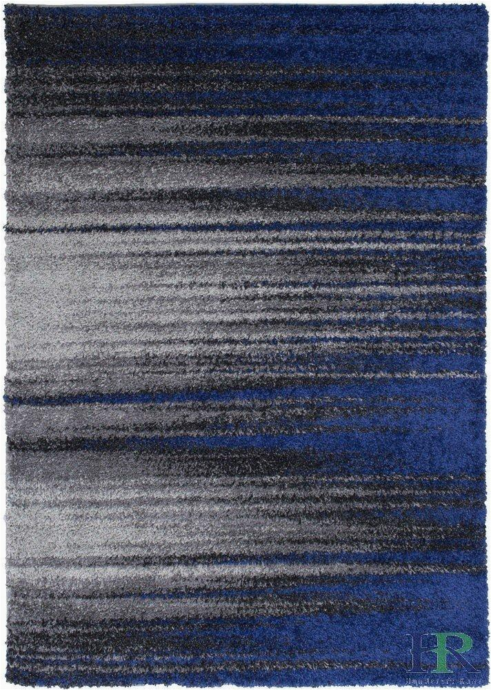 Blue Black Gray area Rug Handcraft Rugs – Shed Free Shaggy area Rugs Contemporary