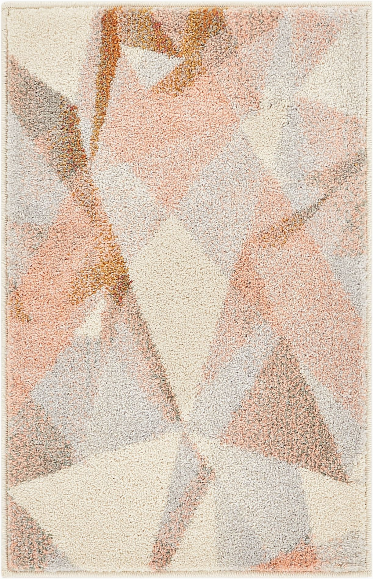 """Blush and Gold area Rug Well Woven Barra Blush Pink Multi Modern Geometric Triangle Pattern Abstract area Rug 20x31 20"""" X 31"""" Mat Contemporary Thick soft Plush"""