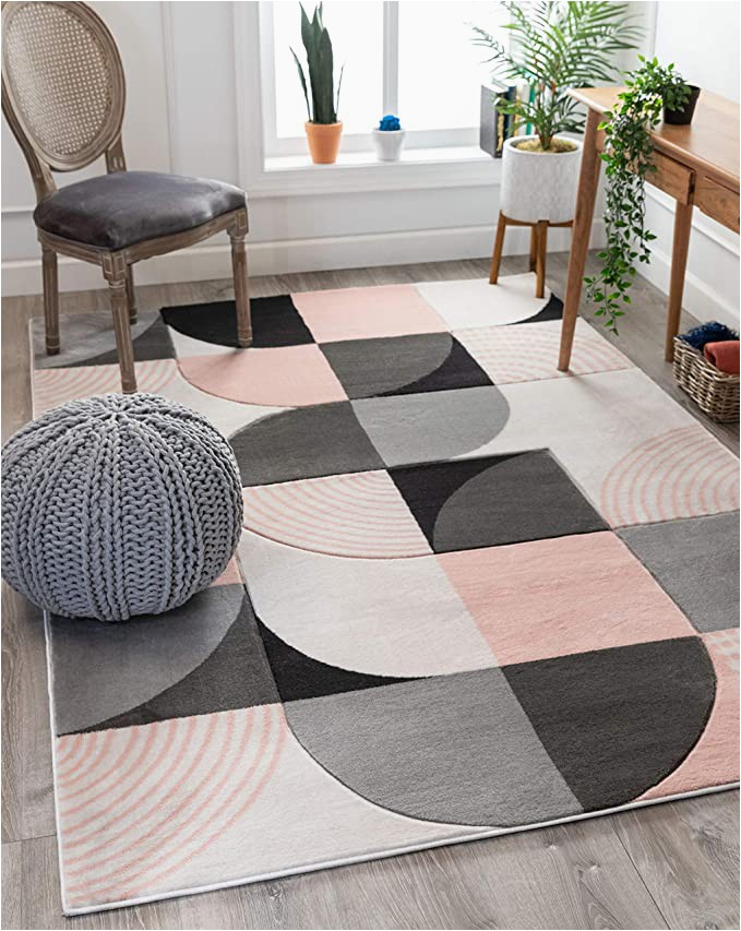 """Blush Pink area Rug 5×7 Well Woven Maggie Blush Pink Modern Geometric Dots & Boxes Pattern area Rug 5×7 5 3"""" X 7 3"""""""