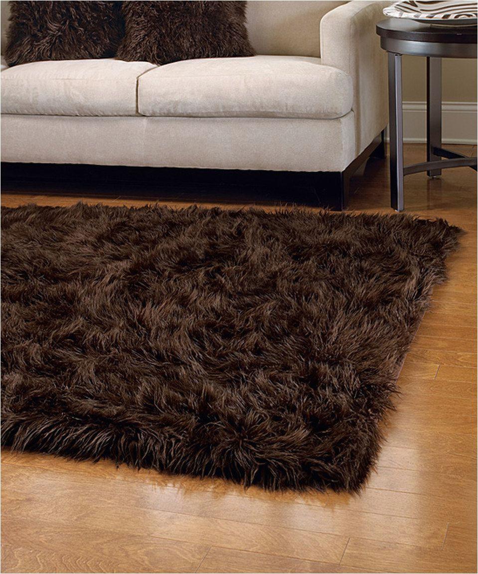 Brown Faux Fur area Rug Brown Mongolian Faux Fur Rug
