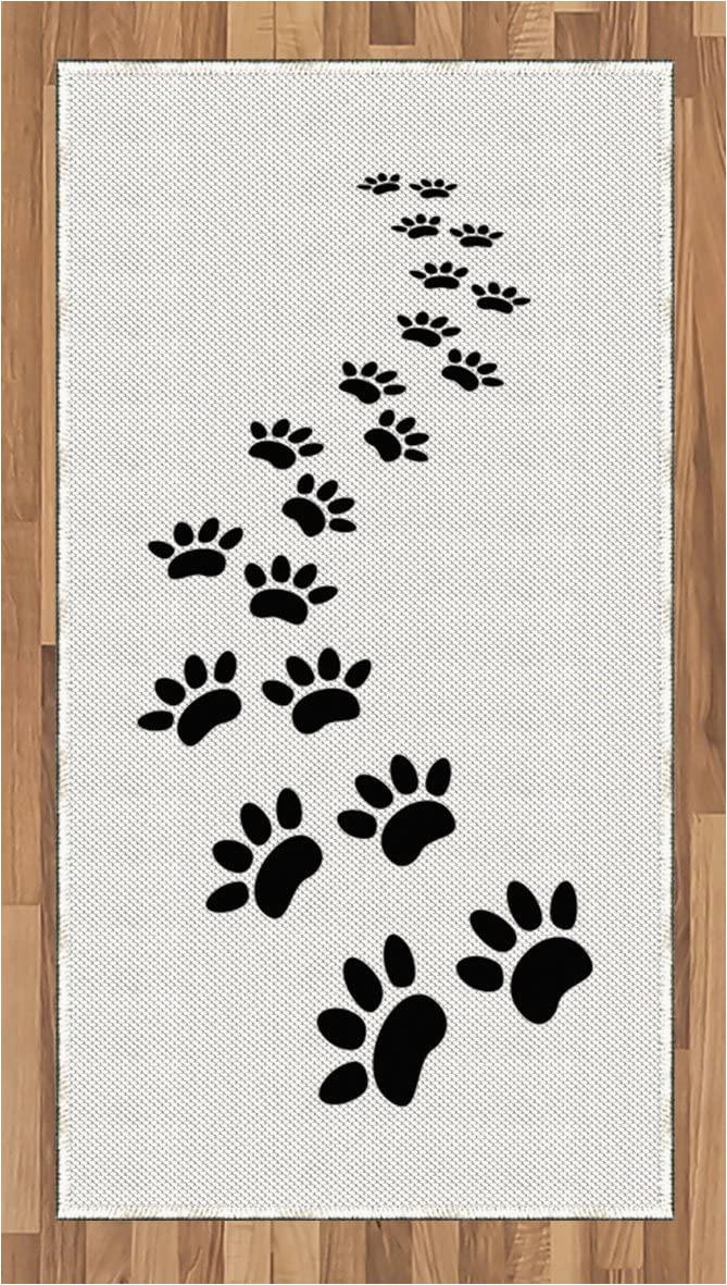 Dog Paw Print area Rugs Amazon Lunarable Animal area Rug Monochrome Paw Print