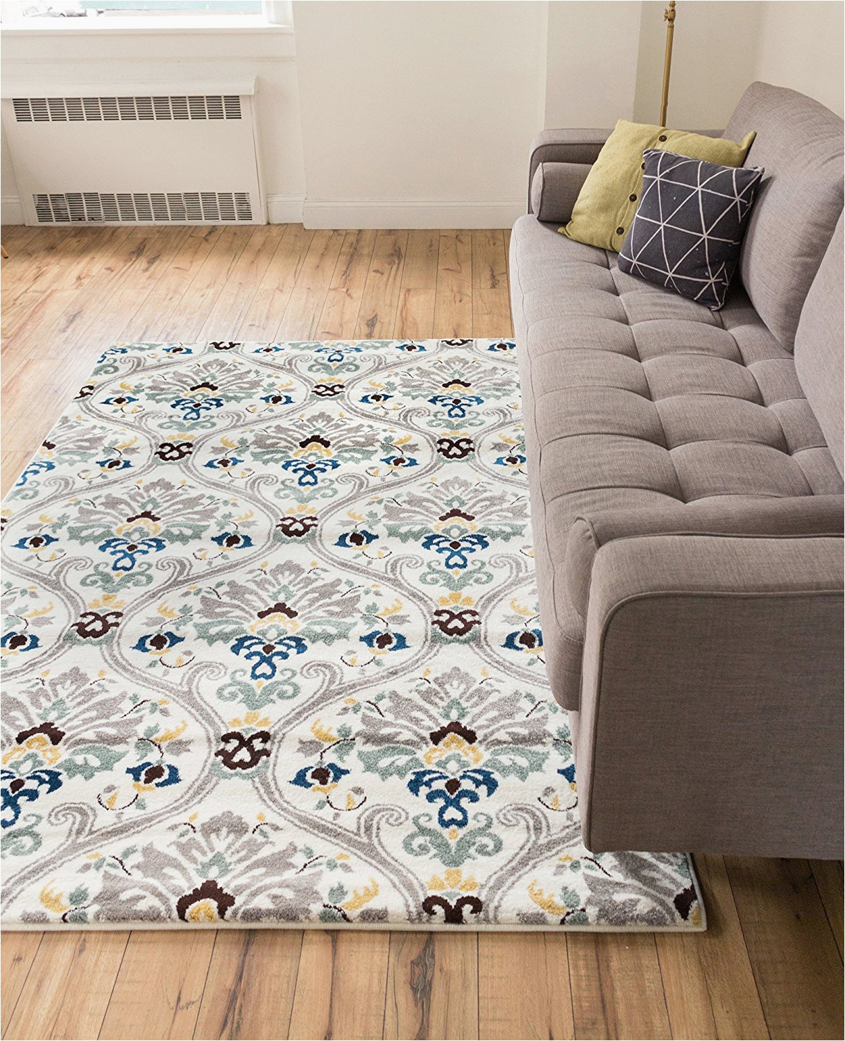 """Grey and White area Rug 5x7 Ogee Waves Lattice Grey Gold Blue Ivory Floral area Rug 5x7 5 3"""" X 7 3"""" Modern oriental Geometric soft Pile Contemporary Carpet Thick Plush Stain"""