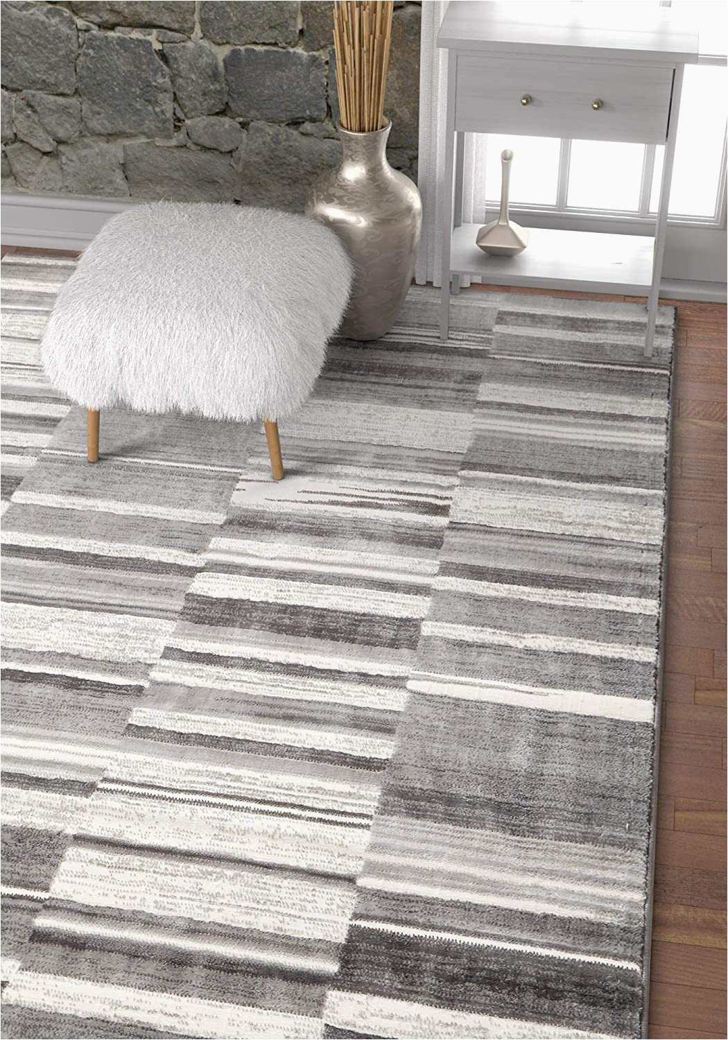 "Grey and White area Rug 5×7 Voyage Grey & White Modern Geometric High Low Pile area Rug 5×7 5 3"" X 7 3"" Abstract Boxes Carpet"