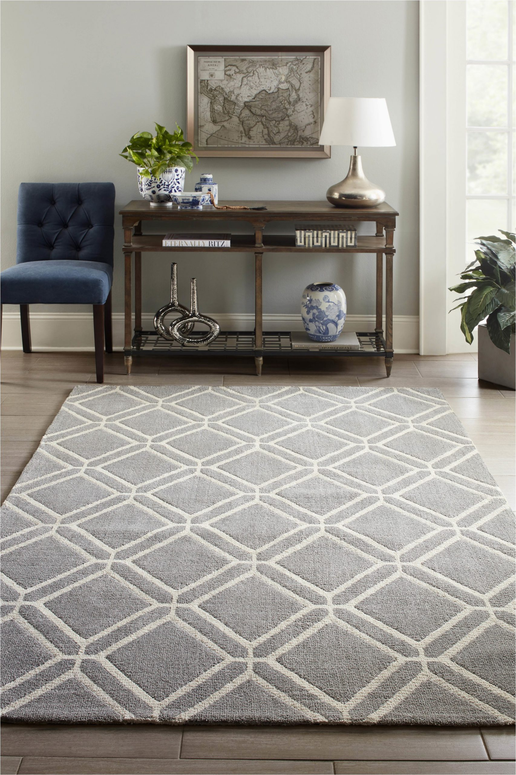 Lowes Allen and Roth area Rugs Allen Roth Shae 8 X 10 Grey Indoor Geometric Mid Century Modern area Rug