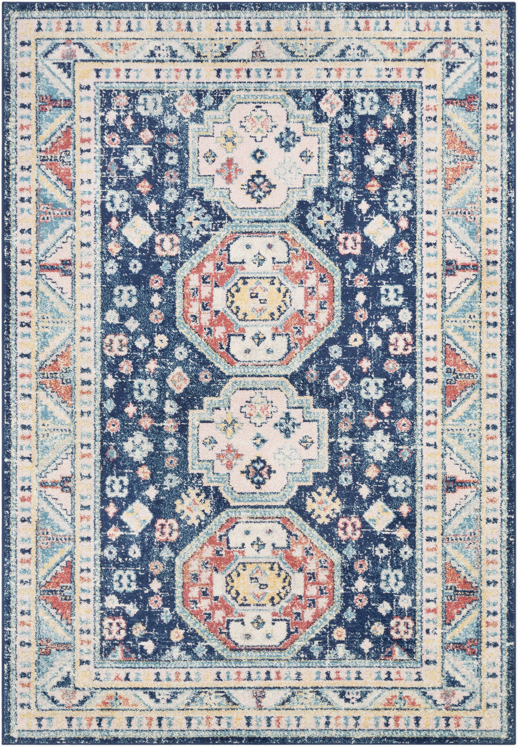 Navy and Blush area Rug Bilaal oriental Navy Blush area Rug