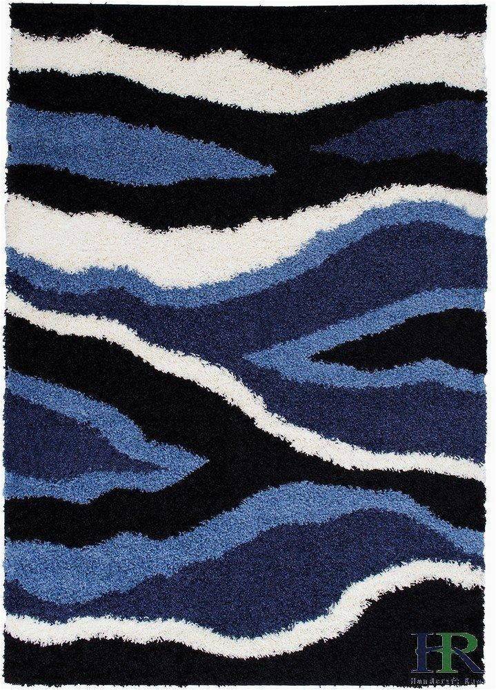 Navy Blue and Black area Rug Shed Free Shaggy area Rugs Contemporary Abstract Wave