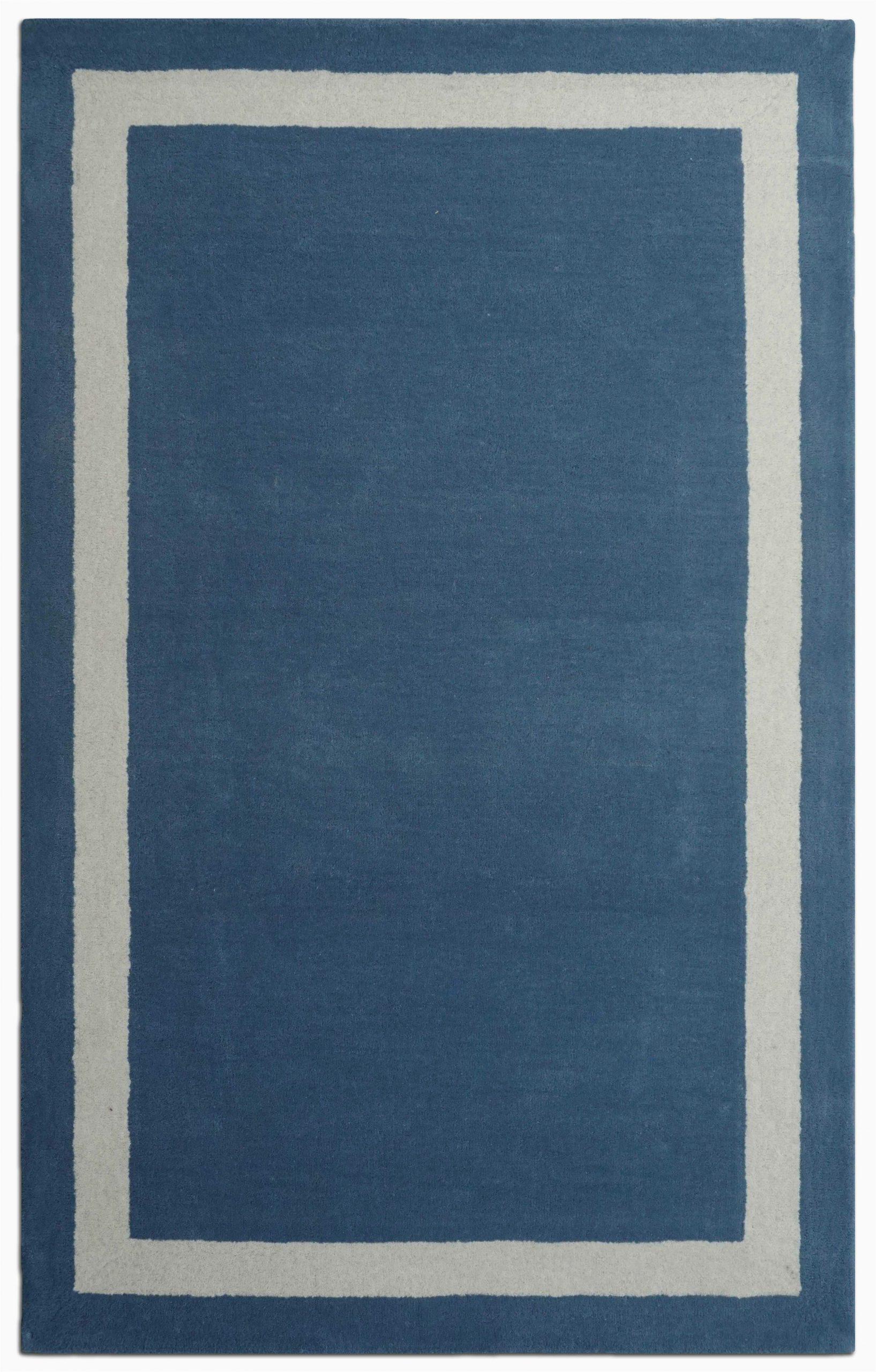 Navy Blue Border Rug Harlem Border Hand Tufted Wool Navy Blue White area Rug