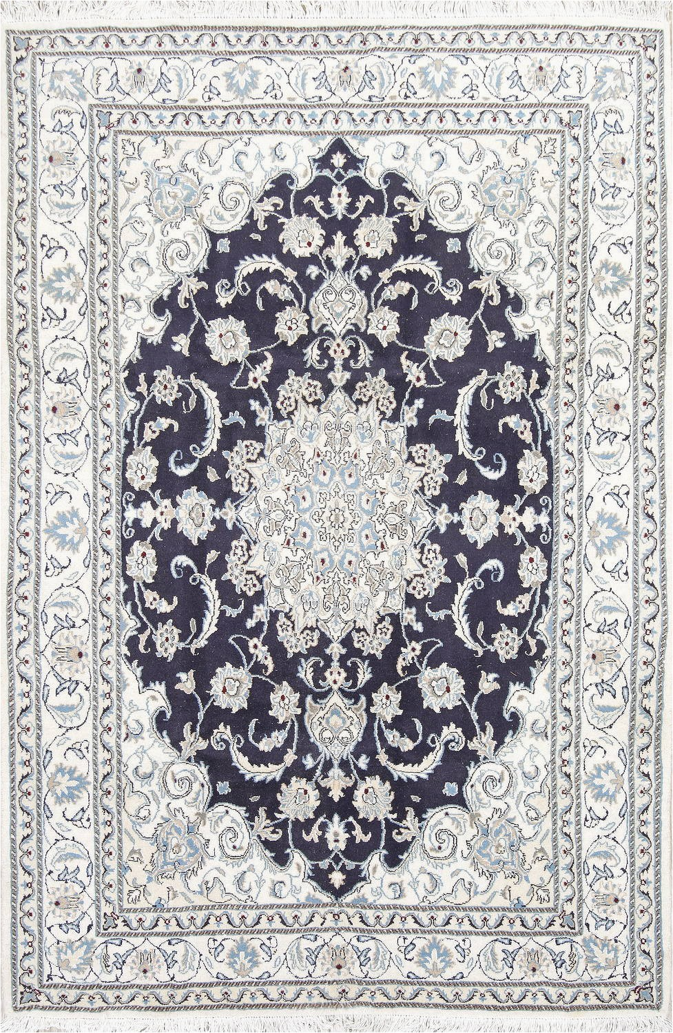 Navy Blue Floral area Rug Navy Blue Floral Nain Persian area Rug 6×8
