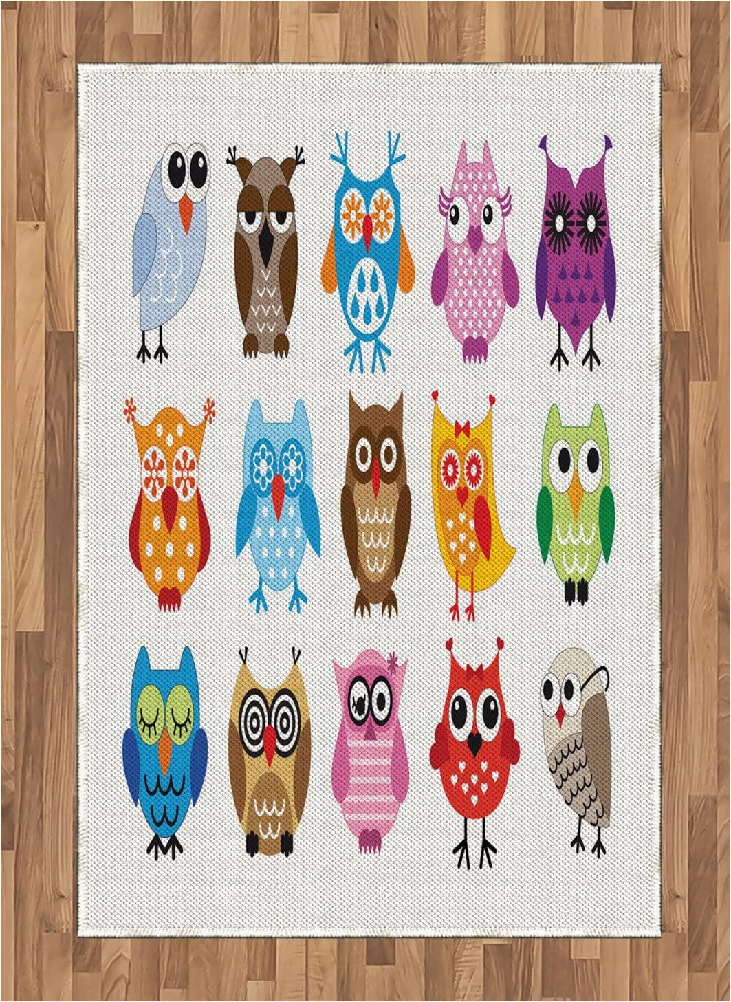 Owl area Rug for Nursery Amazon Lunarable Owl area Rug Group Of Nursery Cartoon