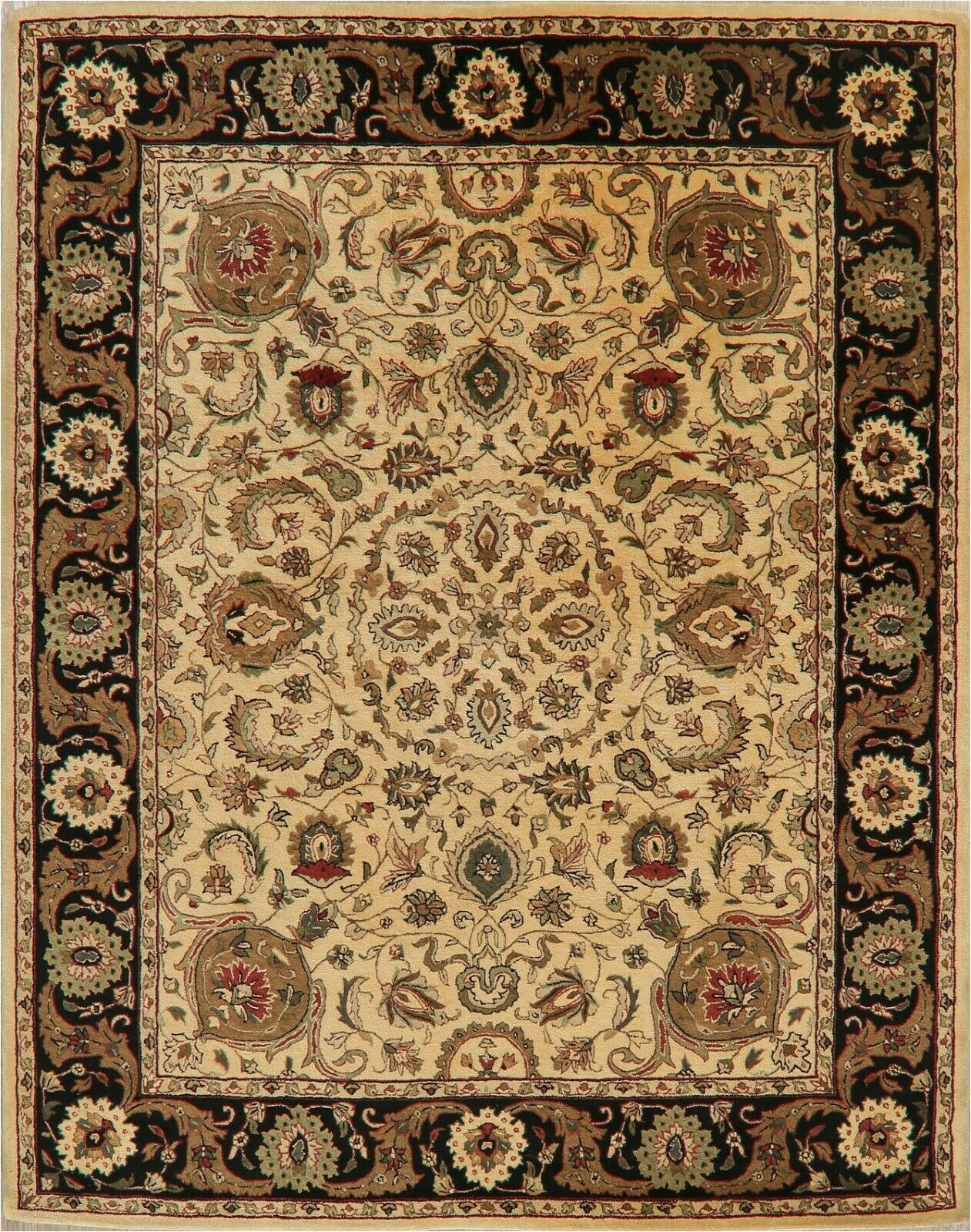 Safavieh Stratford Collection Wool area Rug Ivory & Black Floral Agra oriental area Rug Wool Hand Tufted Living Room 8 X10