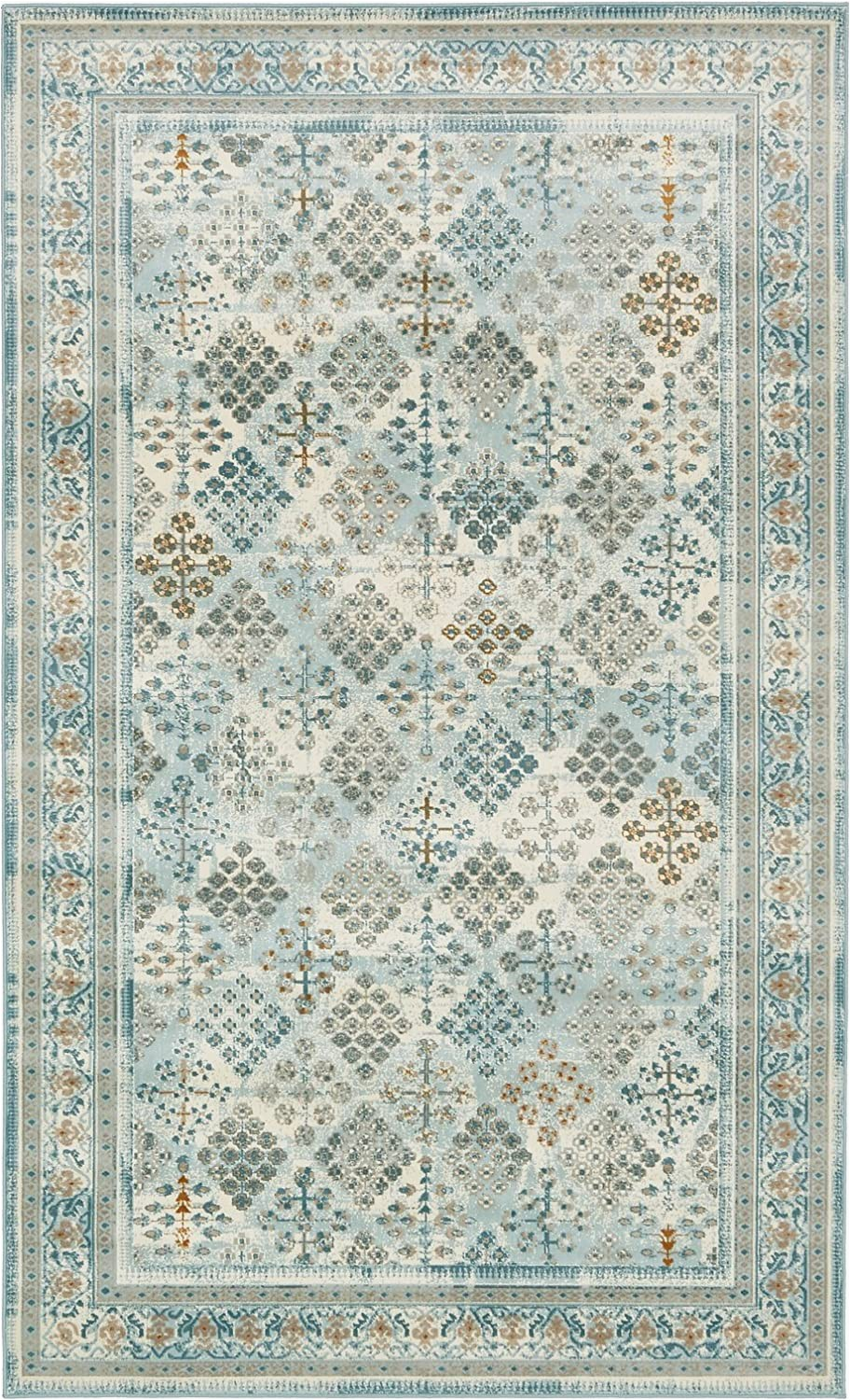8 Foot Square area Rug area Rug Vintage Light Blue 5 X 8 Ft St John Collection Rugs Inspired Overdyed Carpet