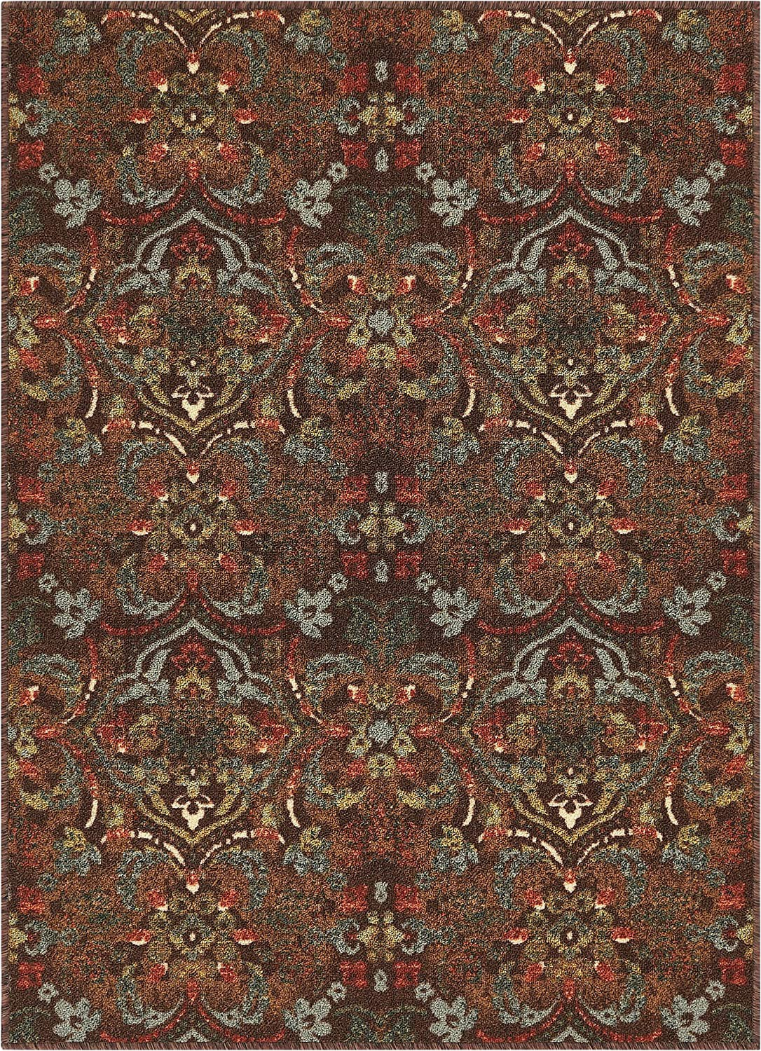 """Area Rugs with Non Skid Backing Well Woven Non Skid Slip Rubber Back Antibacterial 3×5 3 3"""" X 4 7"""" Traditional Persian Rug Brown Mutli Color Thin Low Pile Machine Washable Indoor"""