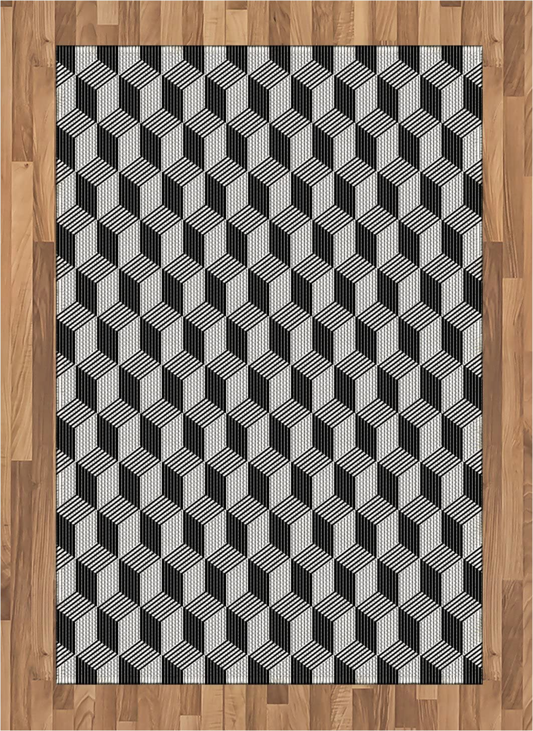 Black and White Woven area Rug Amazon Lunarable Black and White area Rug 3d Style