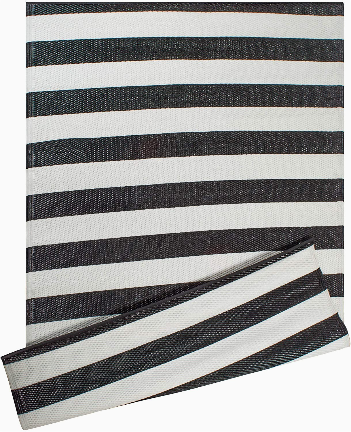 Black and White Woven area Rug Dii Reversible Indoor Woven Striped Outdoor Rug 4x6 White & Black