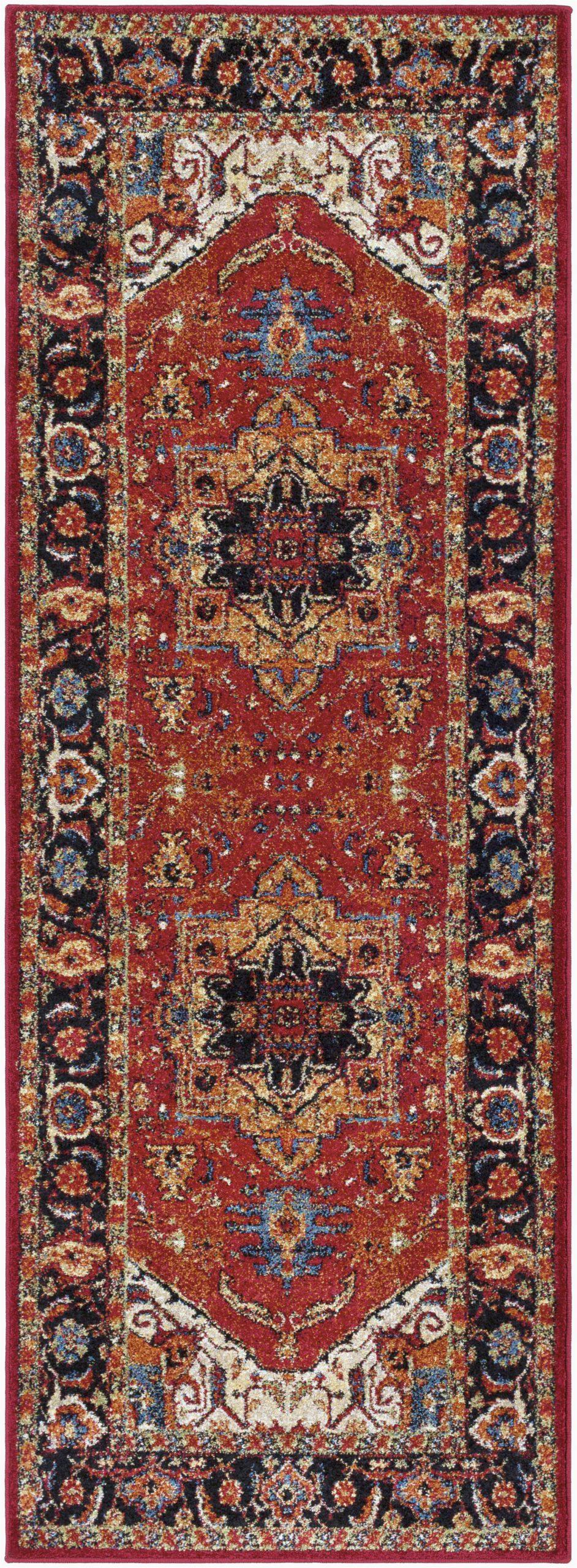 Brahim Red Black area Rug Brahim southwestern Red Black area Rug