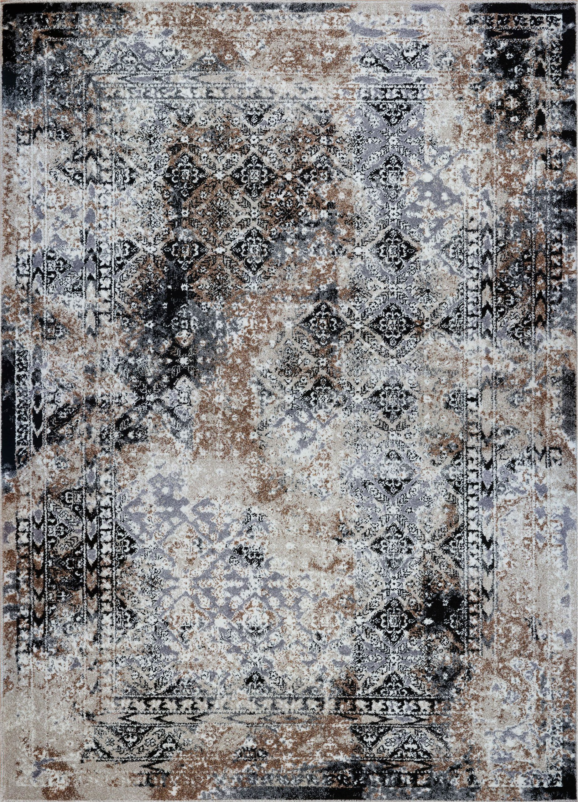 Brown Black and Gray area Rugs Grey Cream Abstract area Rug Cream Carpet for Living Room