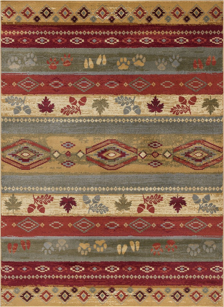 Lodge area Rugs 8 X 10 Aberdeen Novelty Lodge Multi Color Rectangle area Rug 8 X 10