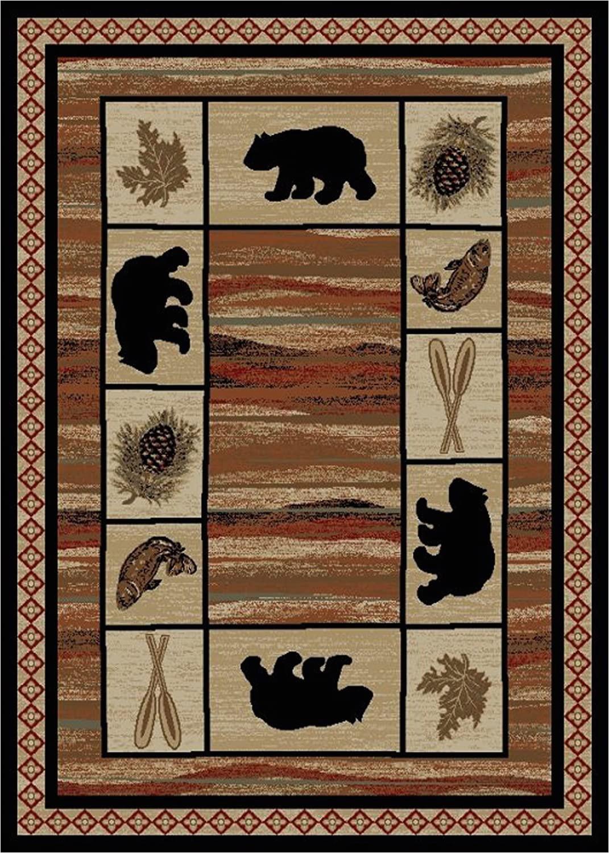 """Lodge area Rugs 8 X 10 Rustic Lodge Bear Cabin 8x10 area Rug 7 10""""x9 10"""" Multi 7463"""