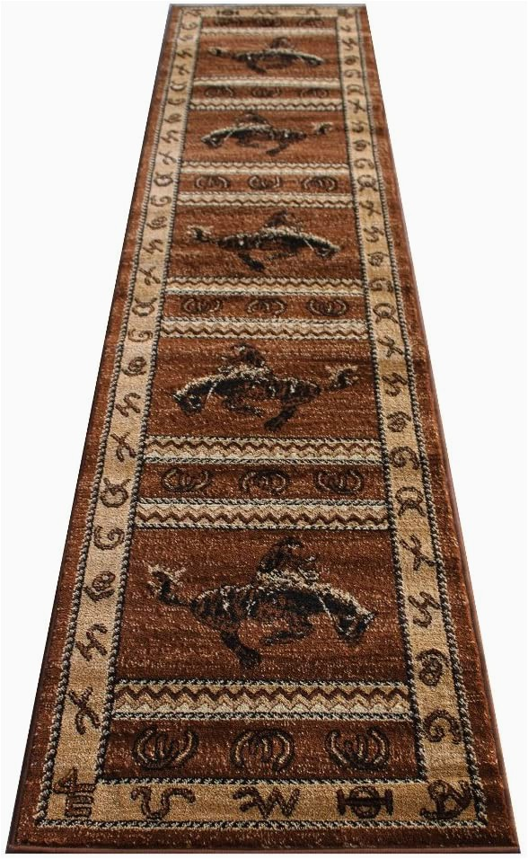Lodge area Rugs 8 X 10 Western area Rug Design 370 Lodge Brown 2 Feet 4 Inch X 10 Feet 9 Inch Runner