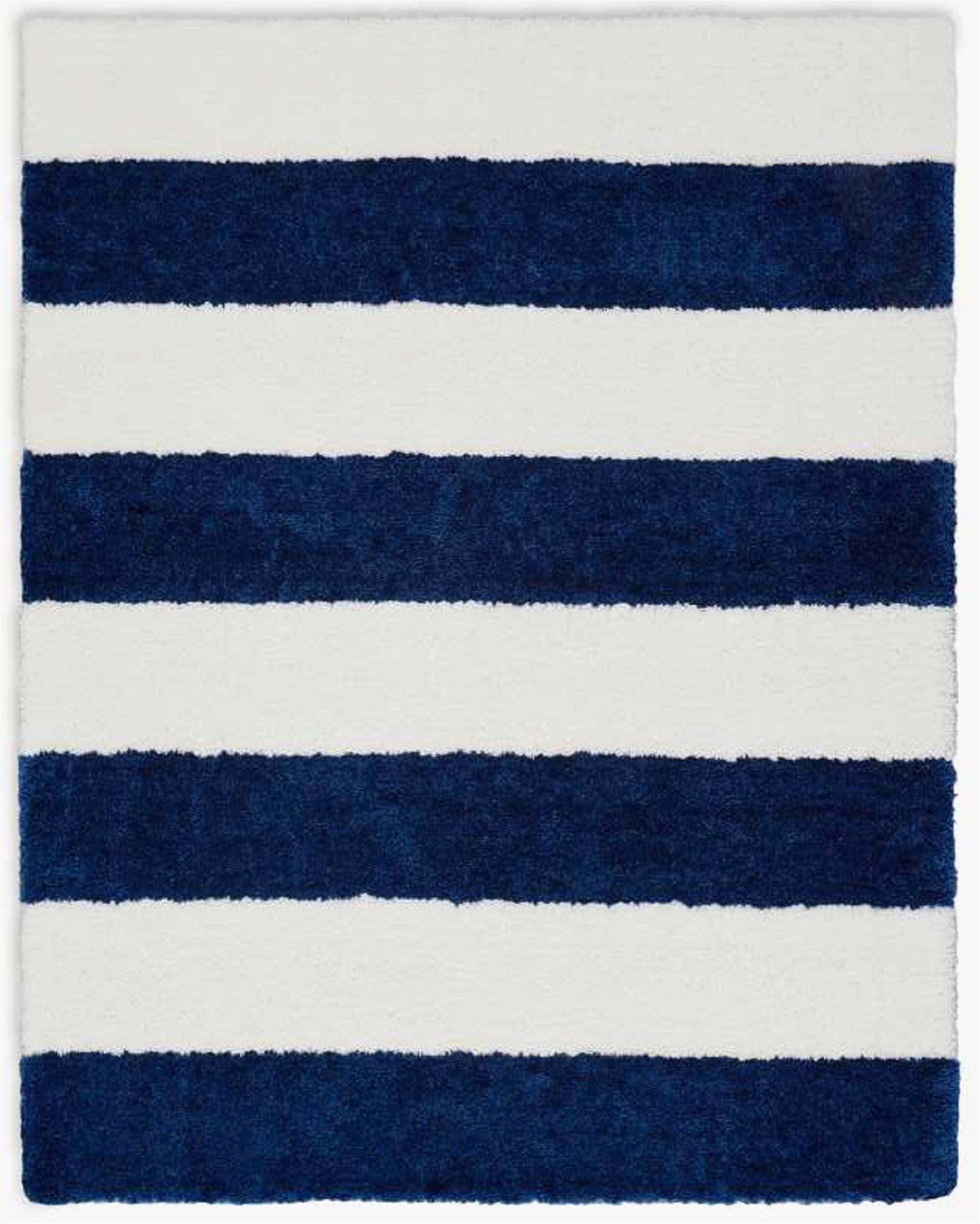 Navy Blue Striped area Rug Chicago Striped Handmade Shag White Navy Blue area Rug