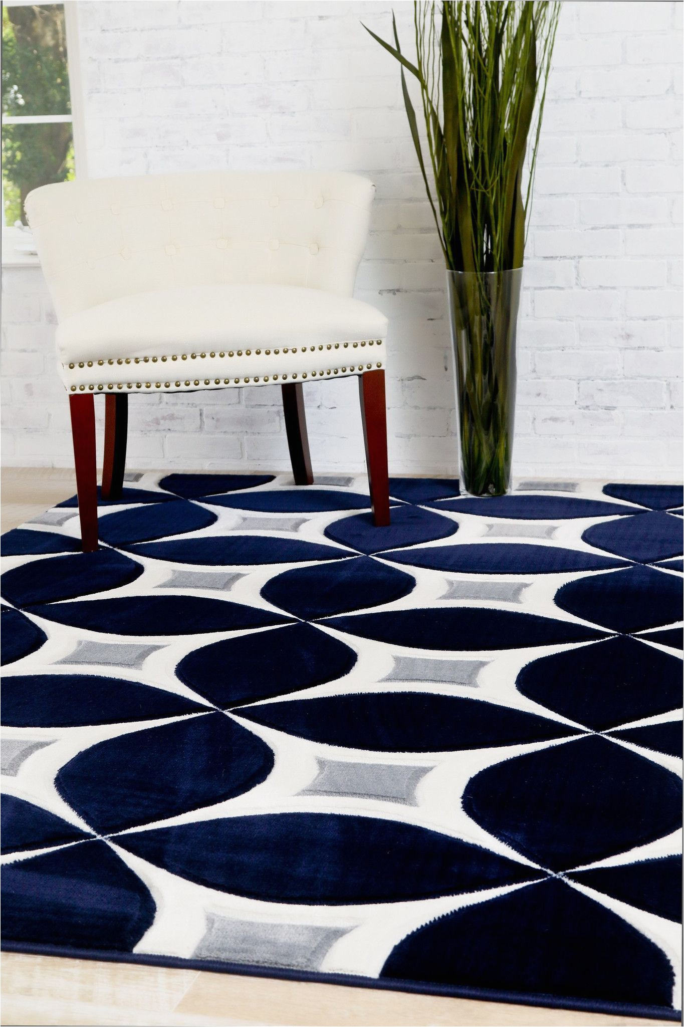 Navy Gray and White area Rug Navy Gray Modern Rug Kaleidoscope Contemporary Affordable