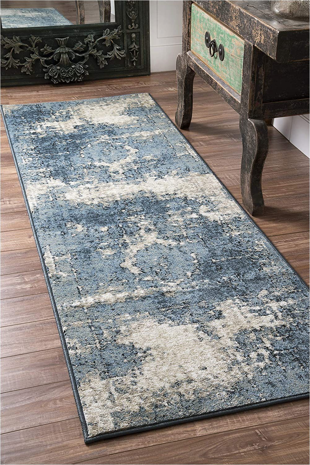 "Nuloom Vintage Distressed area Rug Nuloom Vintage Lindsy Distressed Runner Rug 2 8"" X 12 Blue"