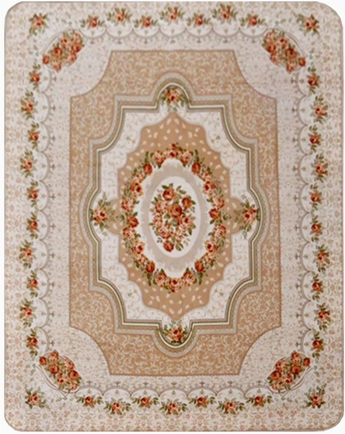 Roses Department Store area Rugs Wolala Home Coral Velvet Beige Roses Livingroom Carpet Washable Non Slip Bedroom Carpet solid Home Decorator Floor Rug Baby Crawling Mats 4 6x6 6