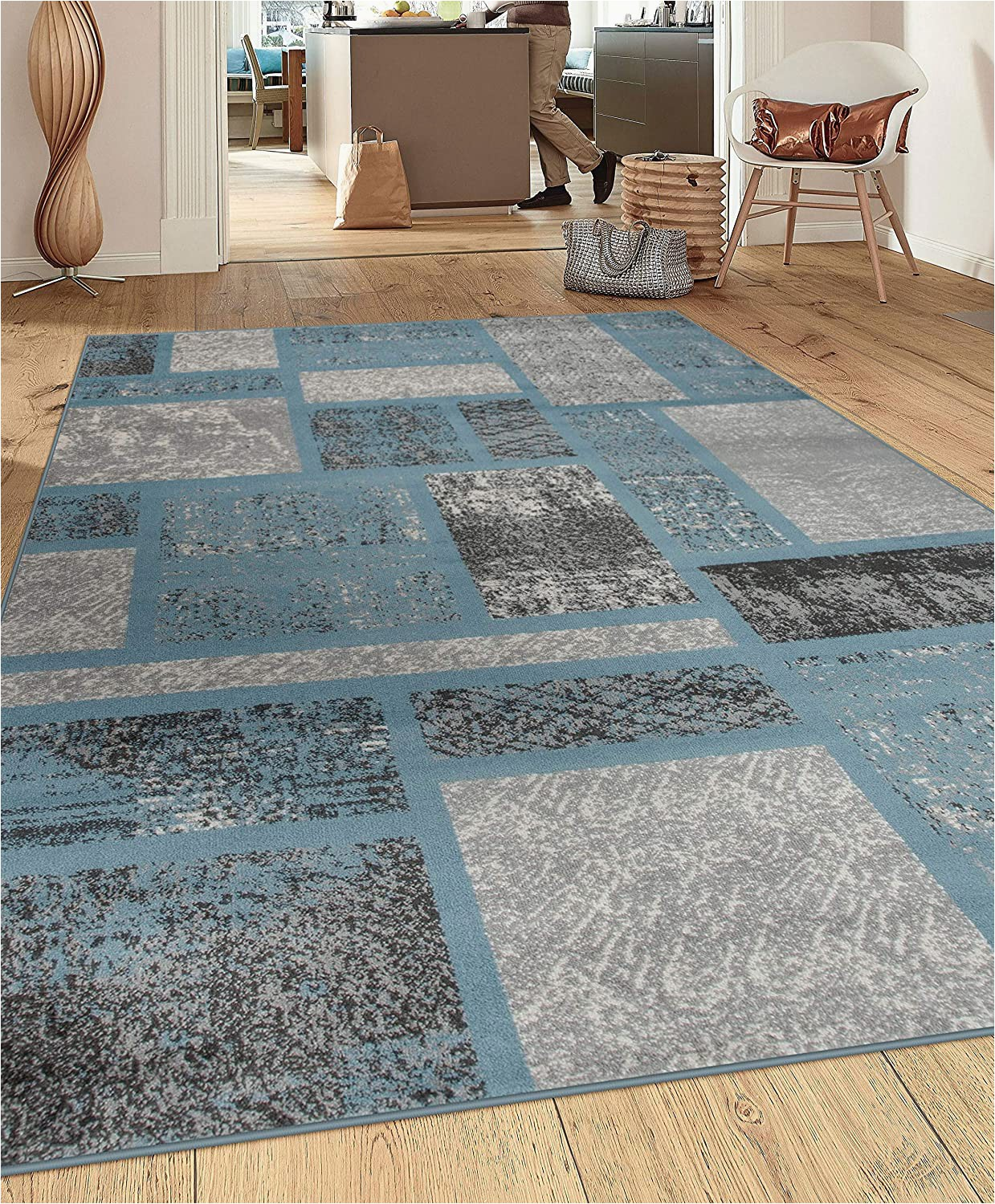 Rugshop Contemporary Modern Boxes area Rug Rugshop Contemporary Modern Boxes Design area Rug 9 X 12 Blue