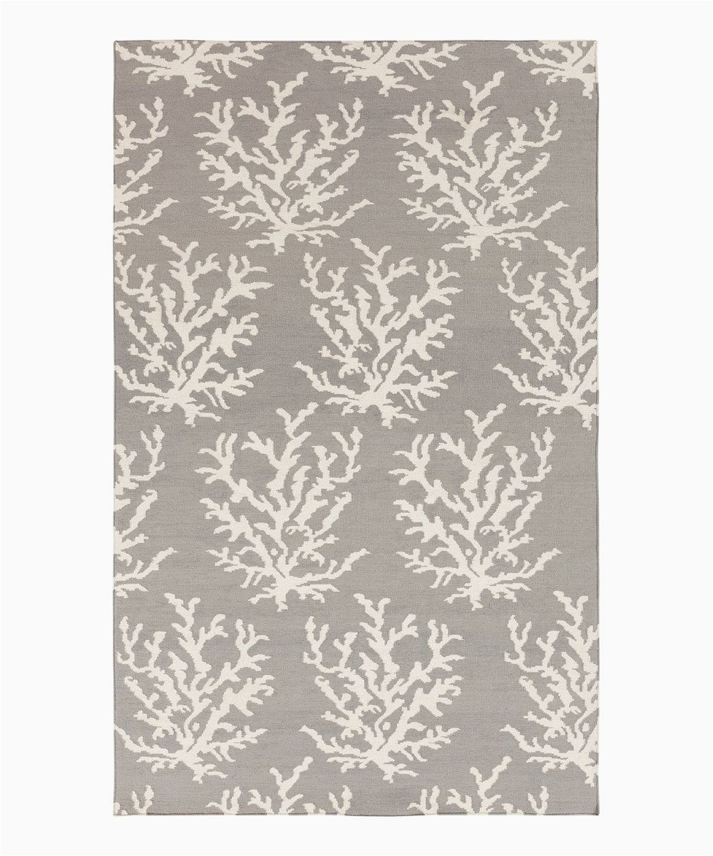 Somerset Home Geometric area Rug Grey and White Light Gray & White Coral Boardwalk Wool Rug
