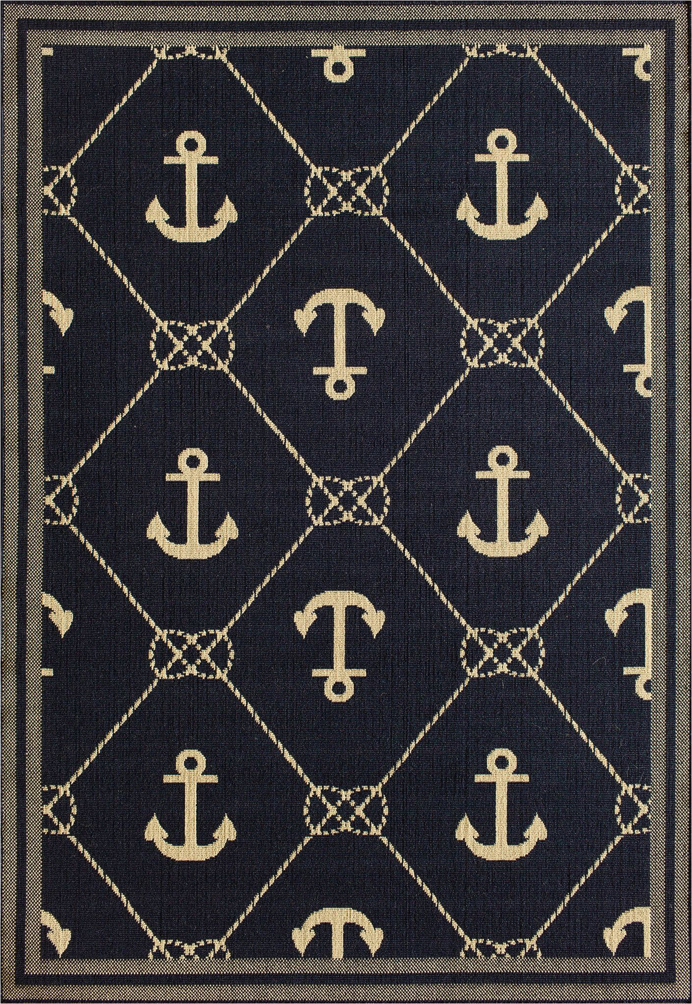 Tributary Indoor Outdoor area Rug Tributary 6004 42 Tributary Anchor Navy Ivory Rug