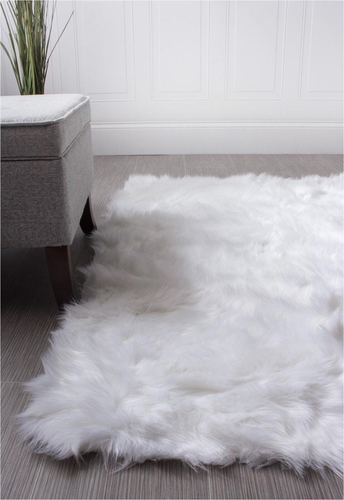 White Faux Sheepskin area Rug Super area Rugs Faux Fur Sheepskin Shag solid area Rug In White