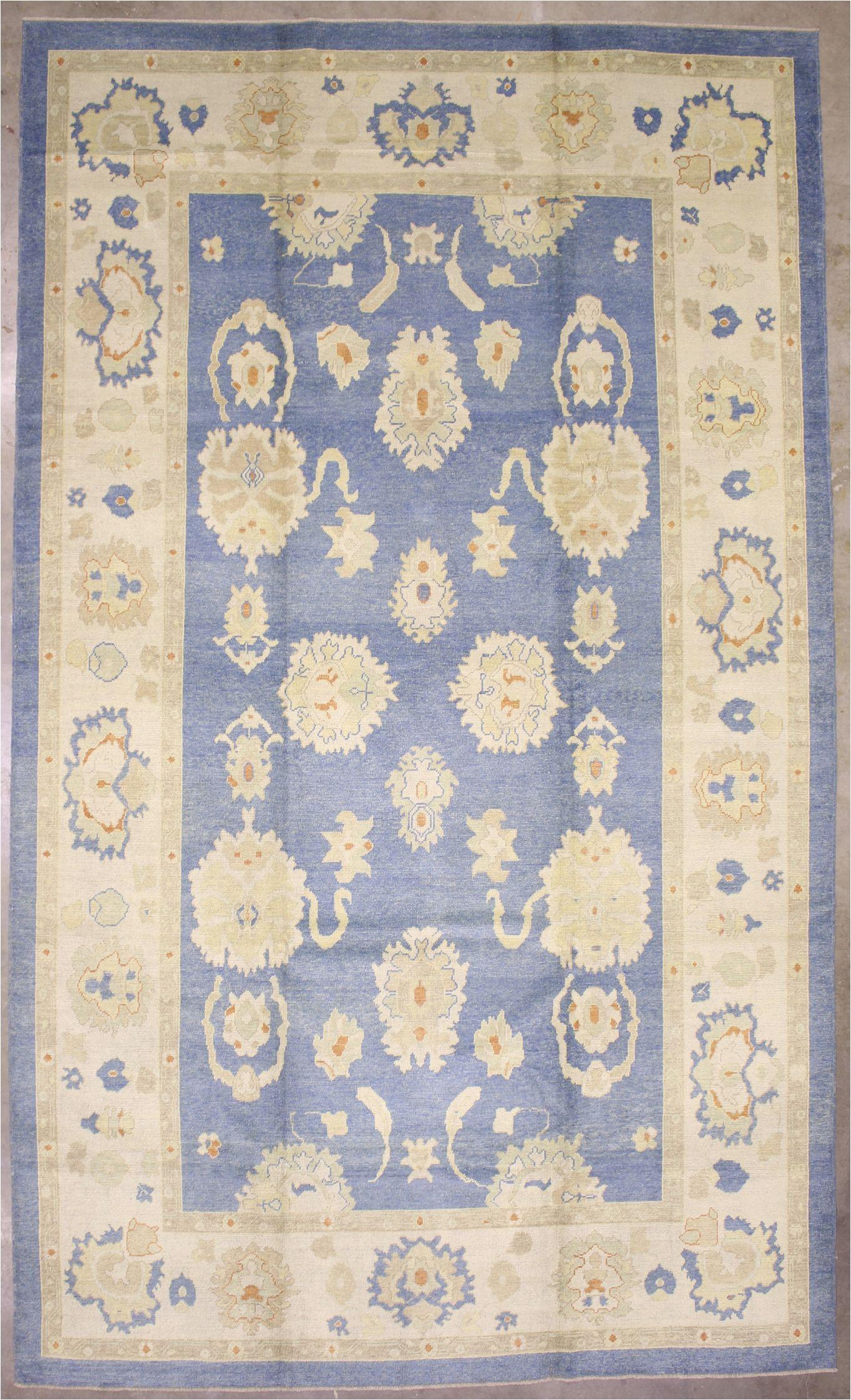 10 X 18 area Rug 10×18 Blue Modern Oushak area Rug