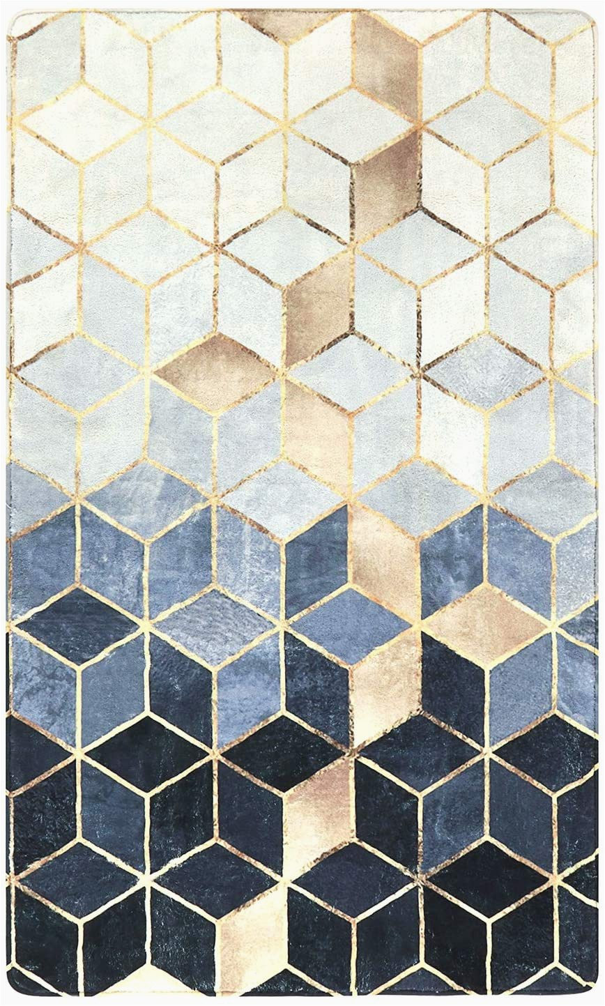 3×5 Non Slip area Rugs Lahome Gra Nt Cubes area Rug 3 X 5 Faux Wool Non Slip area Rug Accent Distressed Throw Rugs Floor Carpet for Living Room Bedrooms Laundry Room