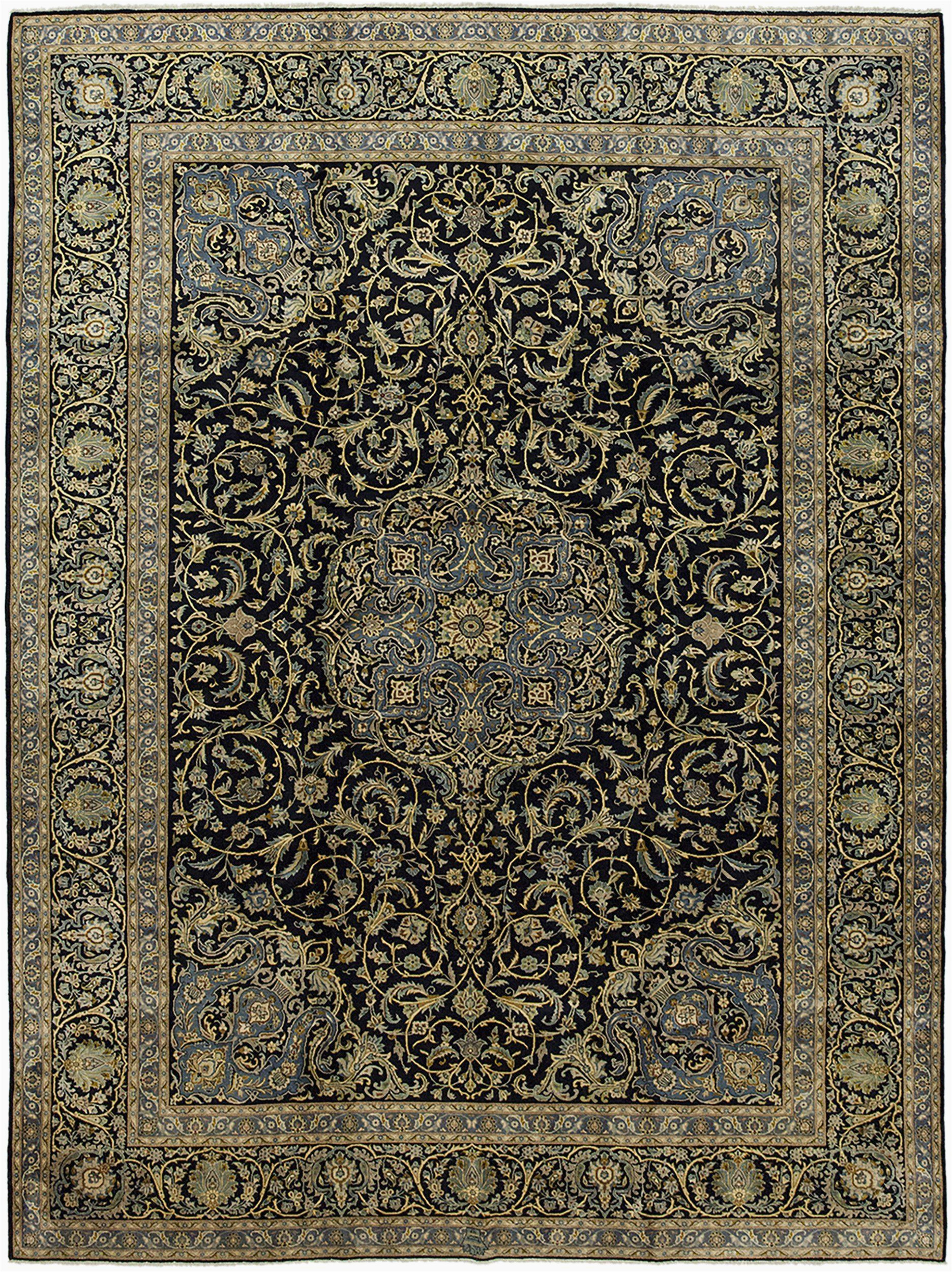 8 X 14 area Rug Hand Knotted Kashan Rectangle area Rug Design M5675