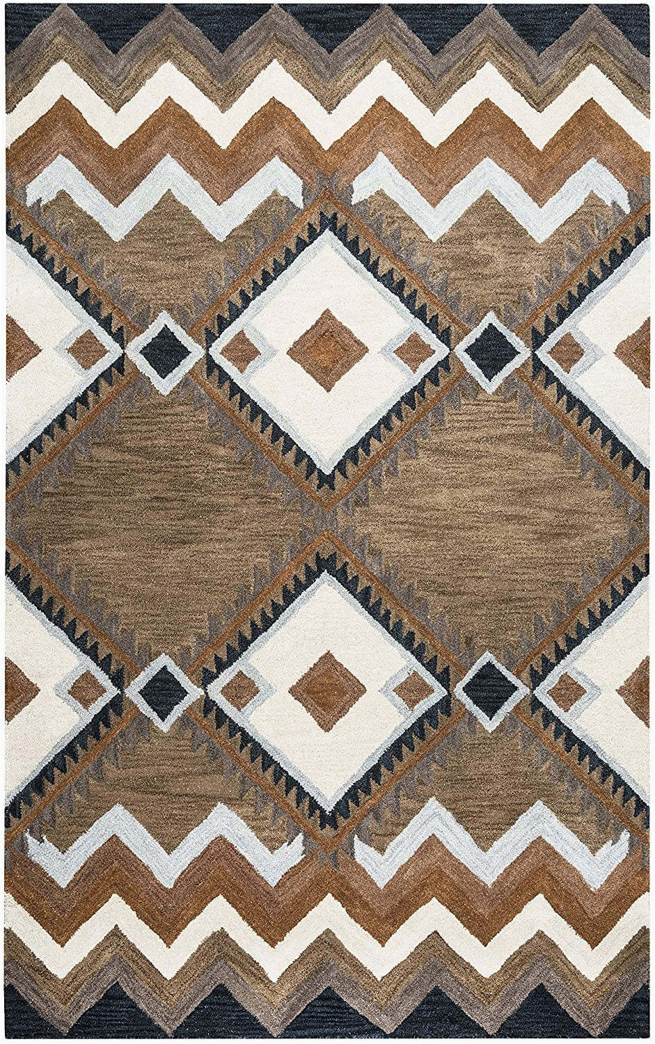 """Off White Wool area Rug Rizzy Home Tumble Weed Loft Collection Wool area Rug 2 6"""" X 8 Multi Navy Blue Light Blue Dark Taupe Camel F White"""