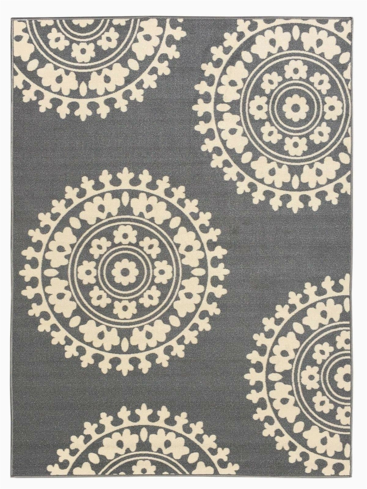 Rubber Backed 3x5 area Rugs Rubber Backed Non Skid Non Slip Gray Ivory Color Medallion Design area Rug