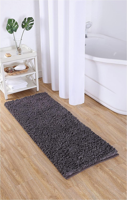 "Bath Rug 60 Inches Long Vcny Home Paper Shag Bathroom Rug 24"" X 60"" Gray"