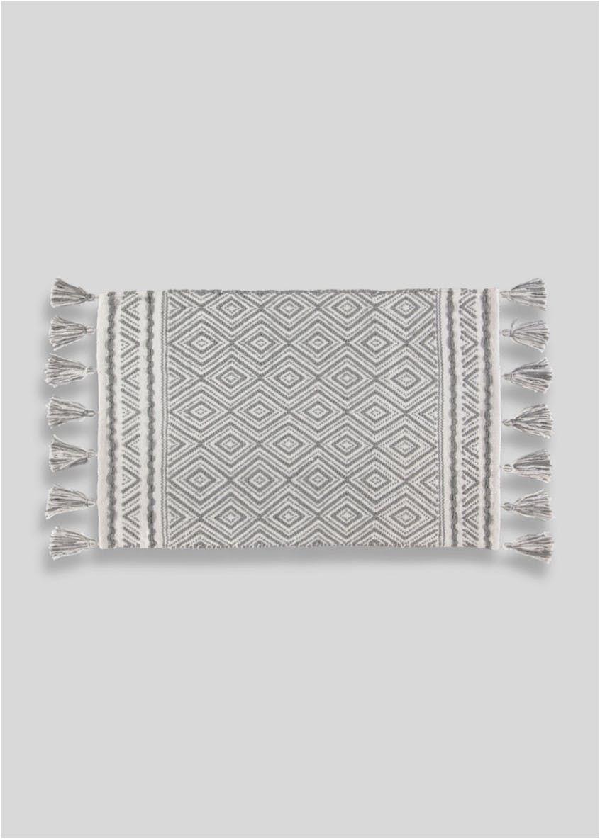 Bath Rug with Tassels Geometric Tassel Bath Mat 80cm X 50cm – Grey