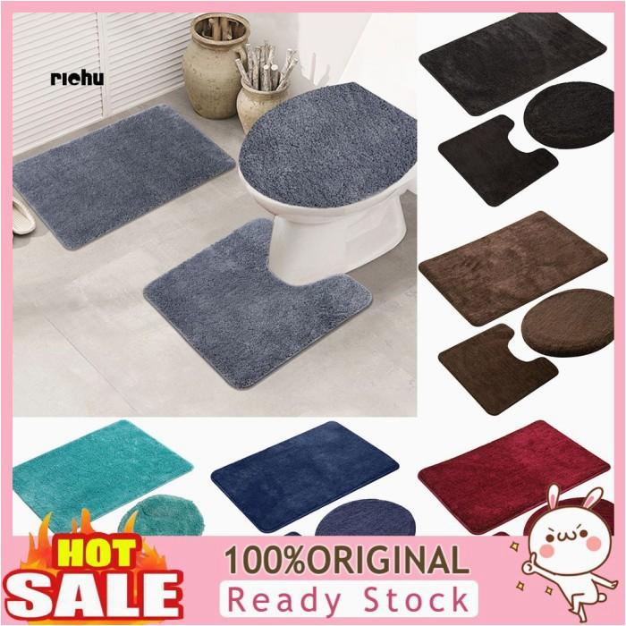 Bath Rugs On Sale Near Me Jual Rc 3pcs solid Color Bath Mat toilet Lid Cover Rug Bathroom Shower Kota Semarang Bbakoeljam