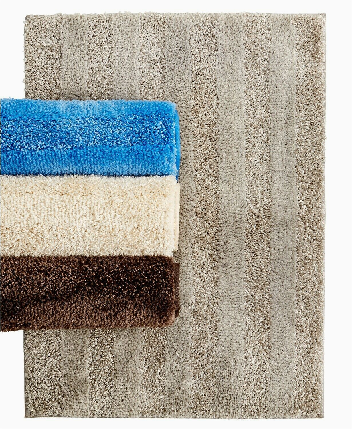 "Bee and Willow Lavish Plush Bath Rug Mohawk Home Luster Stripe 20"" X 34"" Skid Resistant Bath Rug Oxford Tan"